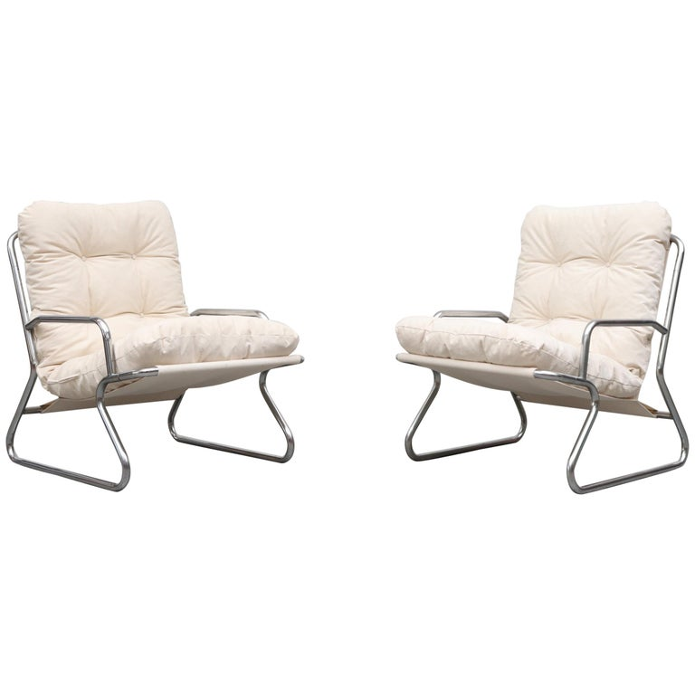 Pair of Kho Liang Ie Inspired Chrome and Canvas Upholstered Lounge Chairs