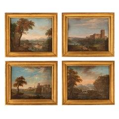 Set of Four Italian Early 19th Century Gouaches