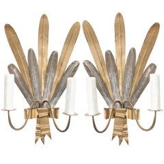 "Pair of French Vintage Gilt and Silvered Metal ""Cattail-Leaf"" Sconces"