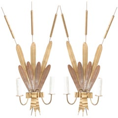 "Pair of French Vintage Gilt Metal ""Cattail"" Sconces"