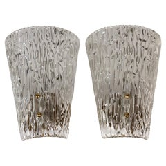 Pair of J.T. Kalmar Midcentury Wall Lights, Textured Glass and Brass