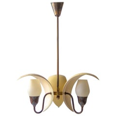 Fog & Mørup, Danish Painted, Patinated Brass and Frosted Glass 3-Arm Chandelier