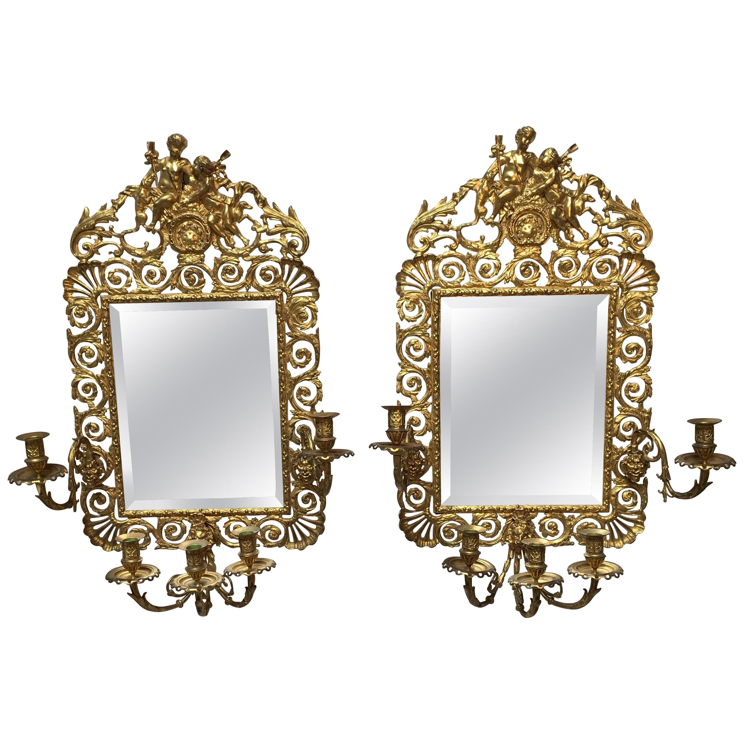 Large Pair of French Bronze Mirrored Sconces