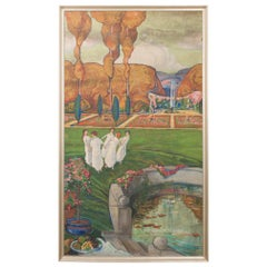 Large French Early 20th Century Art Nouveau Oil-on-Canvas