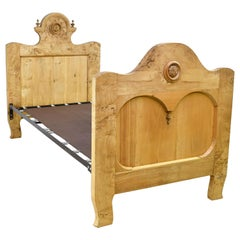 Twin-Size Austrian Biedermeier Bed in Burled Olive Root Wood, circa 1830