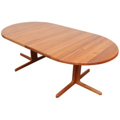 Danish Teak Round to Oval Dining Table with 2 Leaves