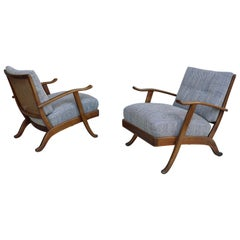 Pair of Organic Lounge Chair in Wood and Wicker, Italy, 1950s