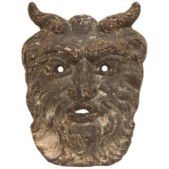 19th Century Cast Iron Satyr Mask