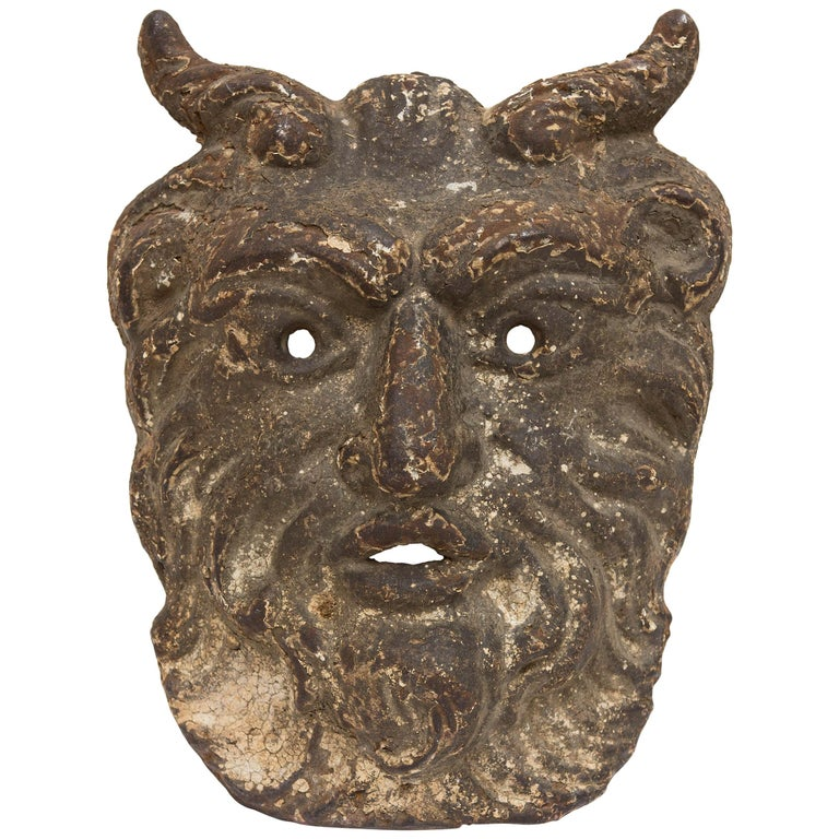 19th Century Cast Iron Satyr Mask For Sale