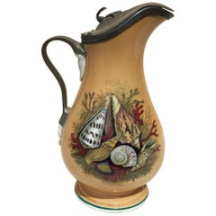 19th Century English Pitcher with Shell and Coral