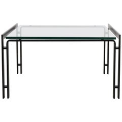 Metaform Glass Coffee Table with Black Enameled Metal Frame
