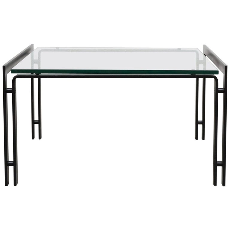 Metaform Glass Coffee Table With Black Enameled Metal