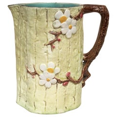Victorian Majolica Dogwood Flowers Pitcher Holdcroft, circa 1890