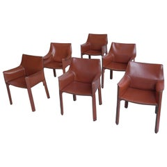 Set of Six Mario Bellini Leather Cab Chairs by Cassina Italy