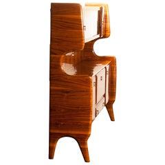 Italian Highboard or Buffet Cabinet in Burl Wood and Walnut by Vittorio Dassi