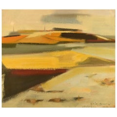 "Erik Bonow, Danish Painter, Oil on Canvas, ""Vendsyssel"", 1963"