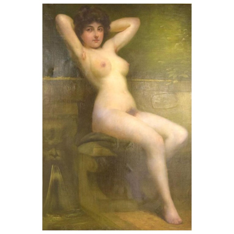 Rudolf Preuss, Austrian Painter 'B.1879, 1961', Seated Young Nude Model For Sale