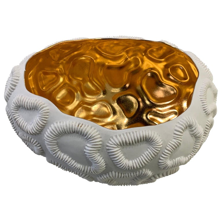 Gold Lined Texture Porcelain Bowl, Italy, Contemporary For Sale