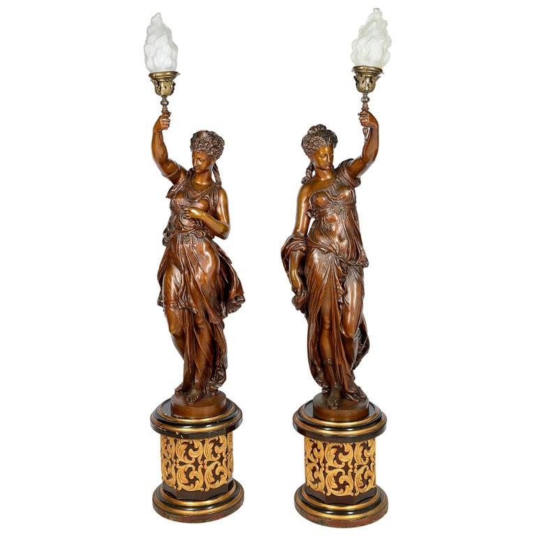 Large Pair Floor Standing 19th Century Bronze Lamps