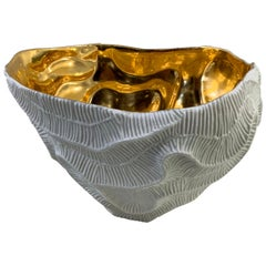 Gold Lined Texture Porcelain Bowl, Italy, Contemporary