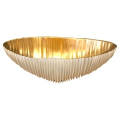 White Porcelain Bowl with Gold Leaf Inside, Italy, Contemporary