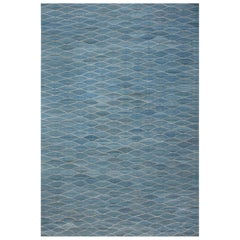 Contemporary Swedish Design Blue Hand-knotted Wool Rug