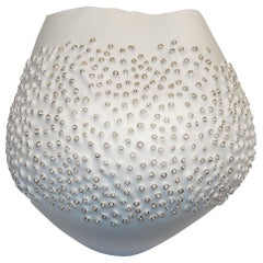 White Porcelain Coral Motif Bowl, Italy, Contemporary
