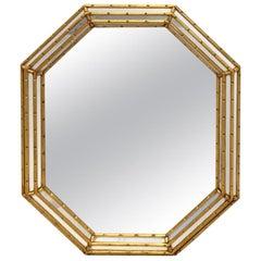 Elegant Giltwood Midcentury Octagon Mirror by Labarge, Italy