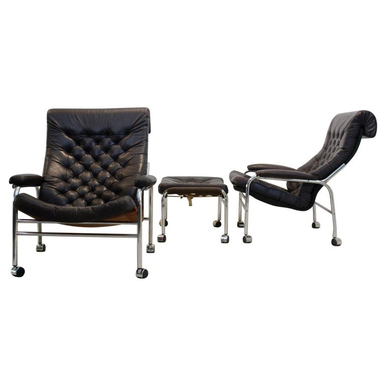 Rare Pair of Noboru Nakamura 'Bore' Leather Lounge Chairs with Footstool, 1970s For Sale
