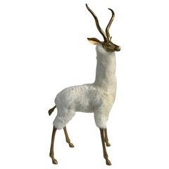 Brass Gazelle or Antelope Sculpture in Fur