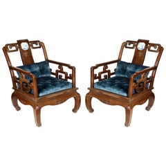 Pair Late 19th Century Chinese Hardwood Armchairs