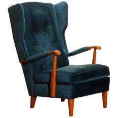 1940s Wingback Chair in Blue Velvet Model 77 by Knoll Malmö