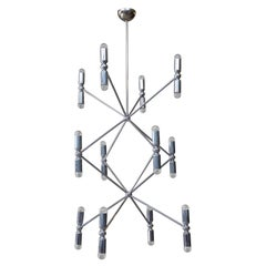 Rare 12-Arm Chandelier with 24 Lights in Chrome, 1970s