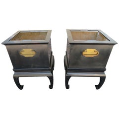 Wonderful Pair of Asian Modern Black Lacquered Planter Copper Inserts