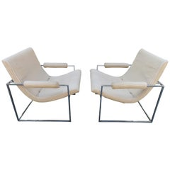 Fantastic Pair of Milo Baughman Chrome Frame Scoop Chairs Mid-Century Modern