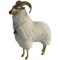 Brass Mountain Sheep Goat Sculpture