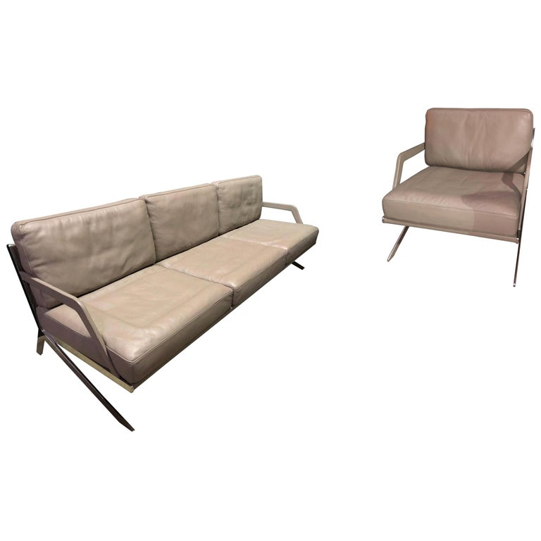 De Sede Leather DS 60 Sofa and Lounge Armchair For Sale
