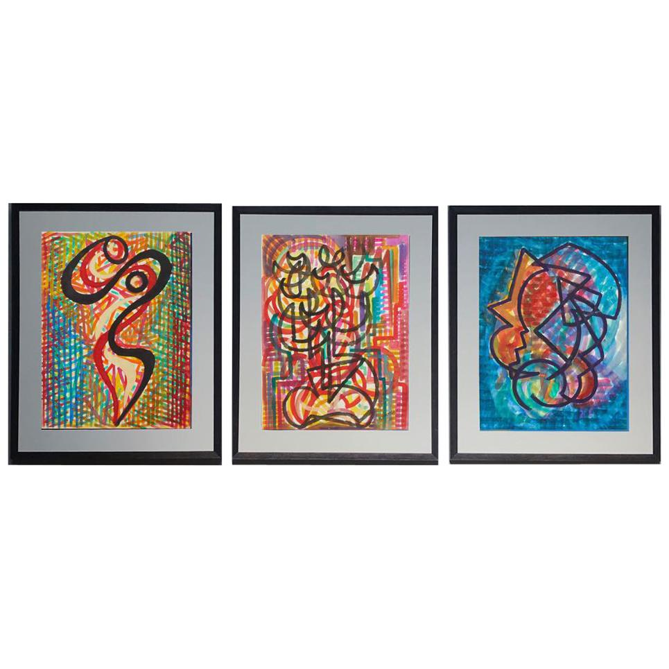 Set of Three Mid-Century Modern Watercolor Paintings from France in Custom Frame