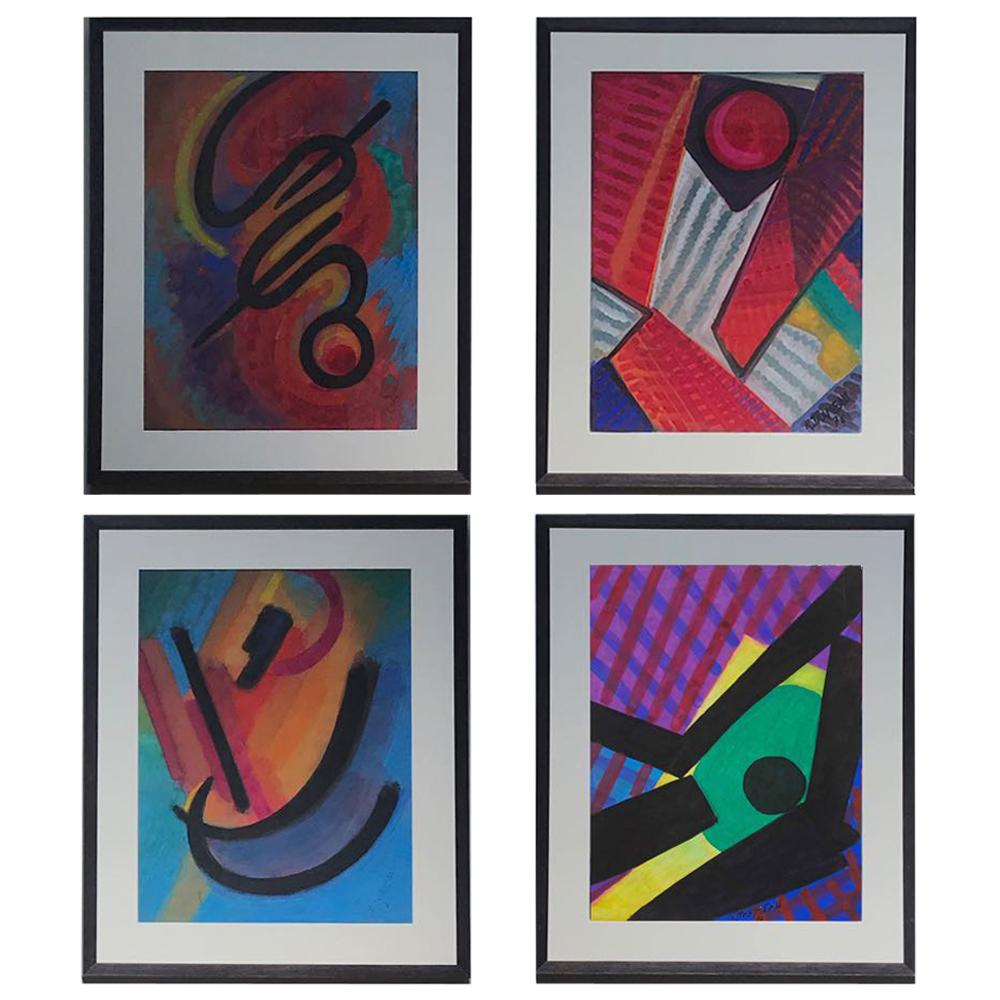 Set of Four Mid-Century Modern Watercolor Paintings from France in Custom Frame