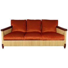 John Hutton for Donghia Wicker Reed and Mahogany Merbau Collection Sofa