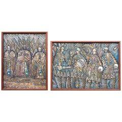 Vintage African Tribal Paintings in Worm-Wood Frames, Set of 2