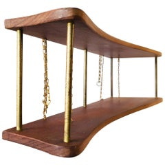 Suspended Danish Teak and Brass Spice Rack, 1960s