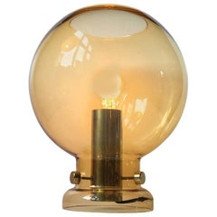 Spherical Smoke Glass and Brass Table Lamp by Hans-Agne Jakobsson, 1960s