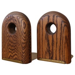 1970s Solid Oak and Brass Modernist Bookends