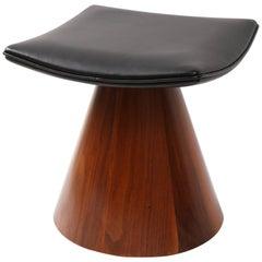 William Keyser Walnut and Leather Pedestal Stool, 1969