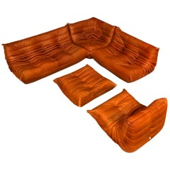 Cognac Leather Ligne Roset Togo Sofa Set, Designed by Michel Ducaroy, 1998