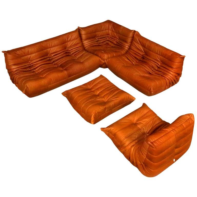 Cognac Leather Ligne Roset Togo Sofa Set, Designed by Michel Ducaroy, 1998 For Sale