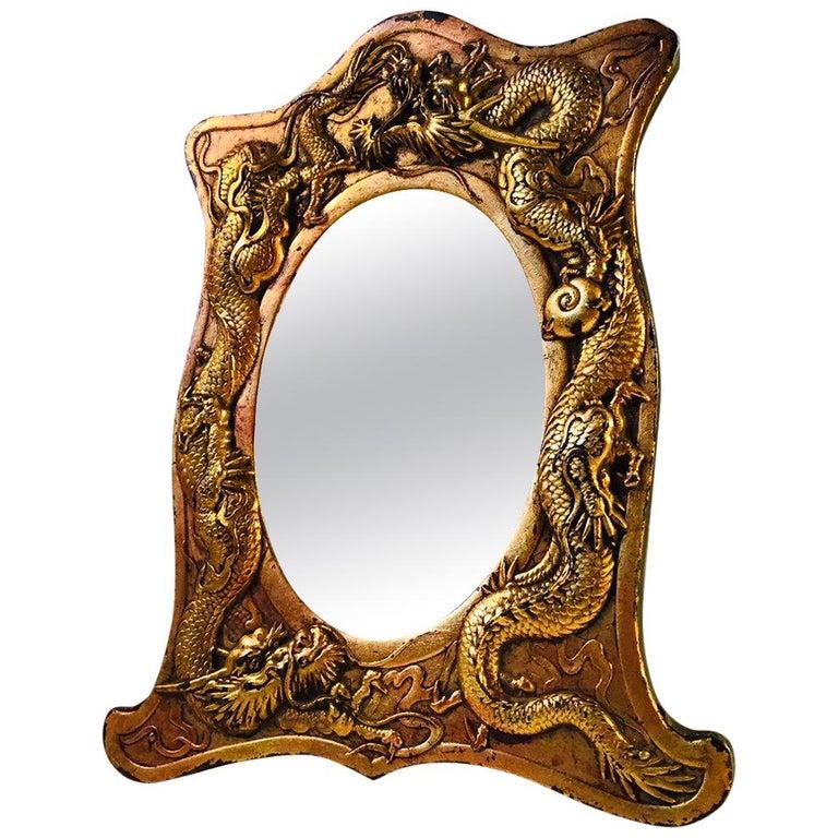 Antique Japanese Bronze Vanity Mirror With Dragons Circa