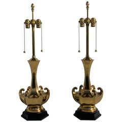 Pair of Asian Motif Brass Lamps