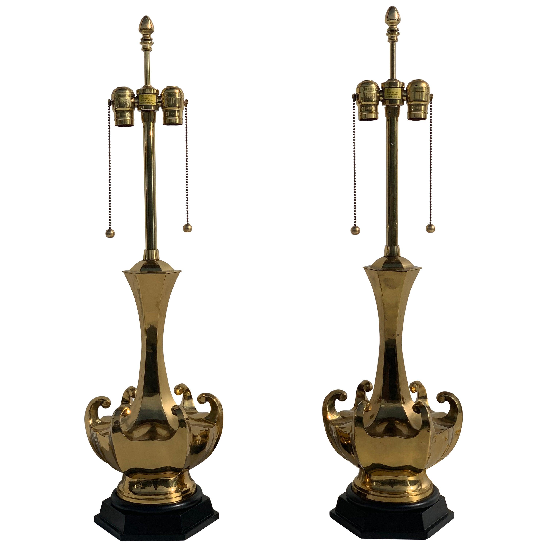Pair of Asian Motif Brass Lamps